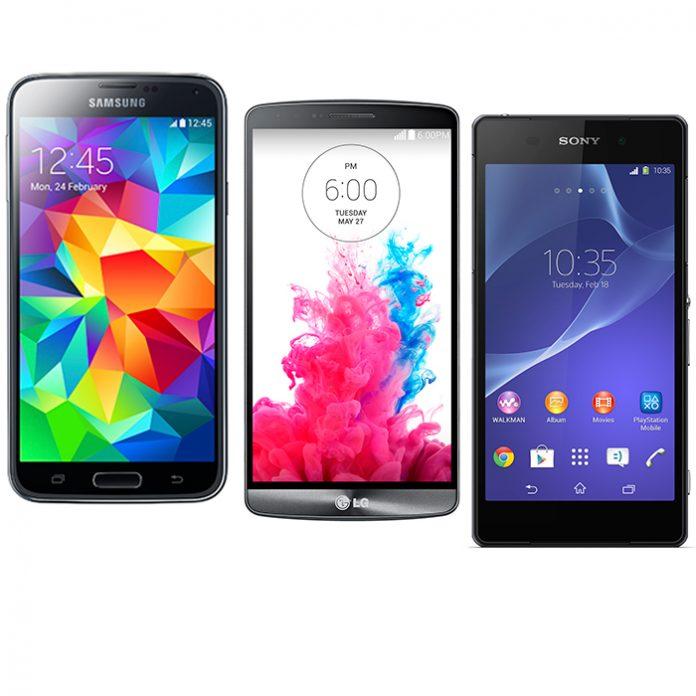LG G3, Samsung Galaxy S5 y Xperia Z2