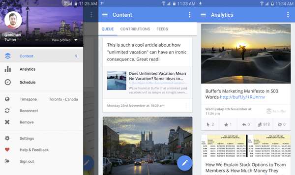 Buffer te permite realizar publicaciones en diversas redes sociales desde un solo lugar. (Foto: Google Play)