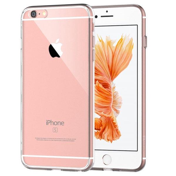 iPhone con carcasa de silicona transparente.