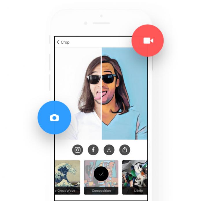 pantalla de iPhone con un hombre que usa la aplicación de Prisma.