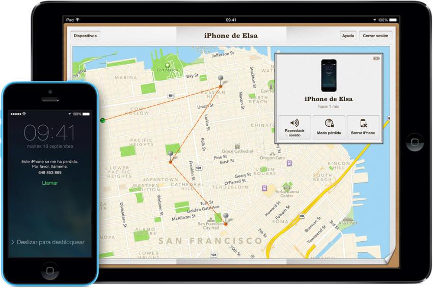 iPhone y mapa que lleva a su ubicación.