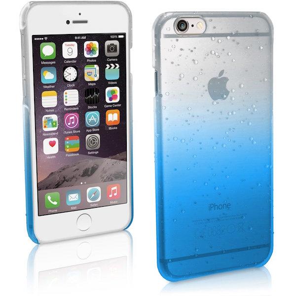 iPhone con carcasa que tiene un diseño de gotas de lluvia.