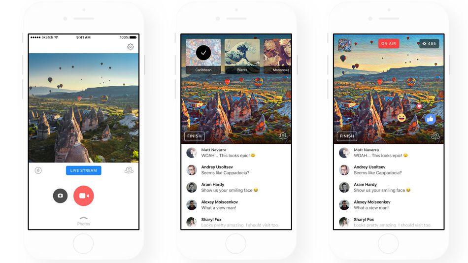iPhones con paisajes en pantalla que muestran como se ven con diferentes filtros de Prisma.