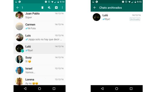 Archiva los chats que no quieres que sean fácilmente vistos. (Foto: Captura de pantalla de WhatsApp)