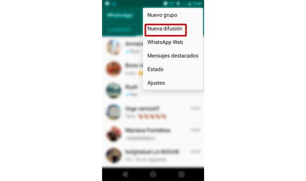 Las difusiones te permiten mandar el mismo mensaje a diferentes ocntactos. (Foto: Captura de pantalla de WhatsApp)