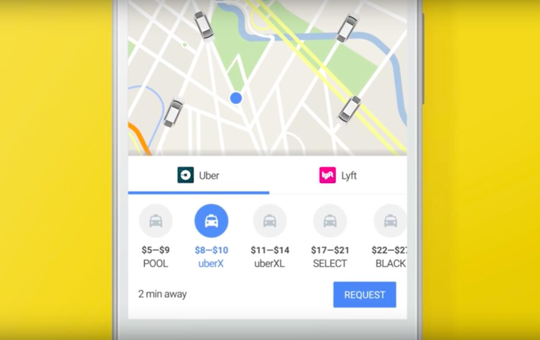 Uber, Google Maps, Lyft