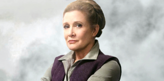 Carrie Fisher como la general Leia Organa en Star Wars