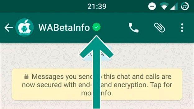 cuenta verificada en WhatsApp