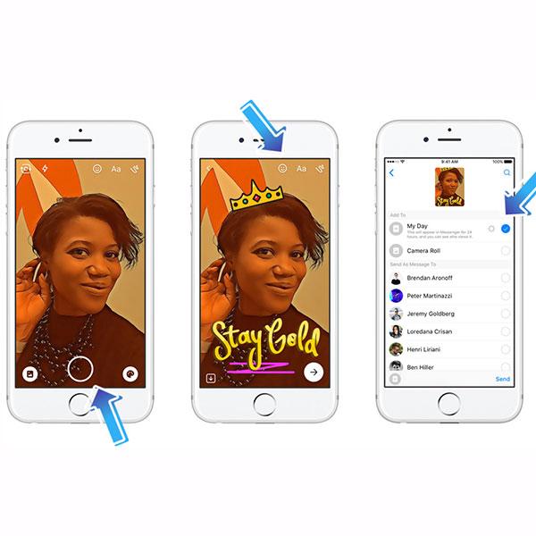 Usar 'Messenger Day' es muy fácil, simplemente sigue las instrucciones. (Foto: Facebook)