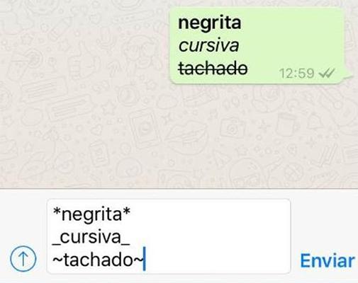 negrita cursiva whatsapp