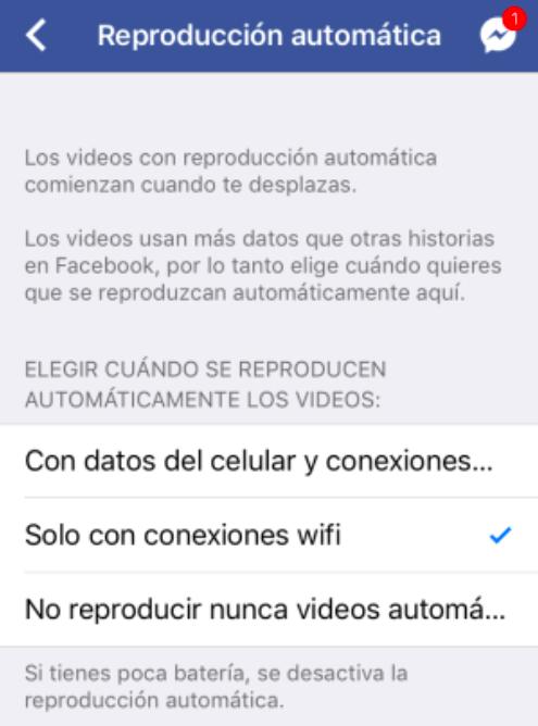Facebook reproducción automática de videos