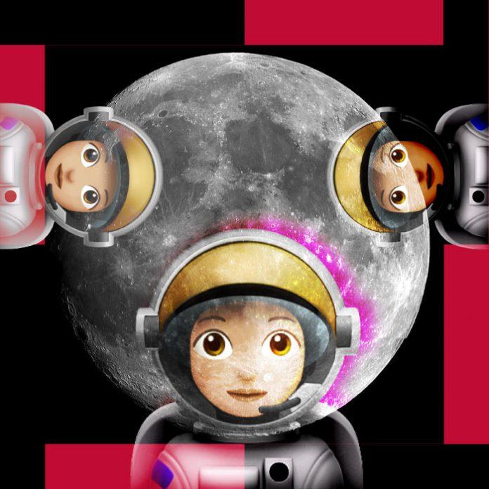 Astronauta mujer Luna