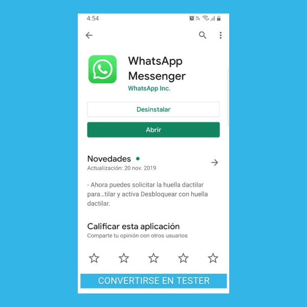 WhatsApp tester android