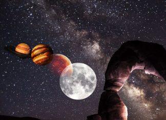 Conjunción Luna, Marte, Júpiter, Saturno