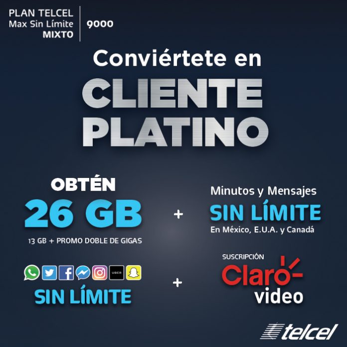 Conviértete en Cliente Platino Plan Telcel Max Sin límite 9000 mixto