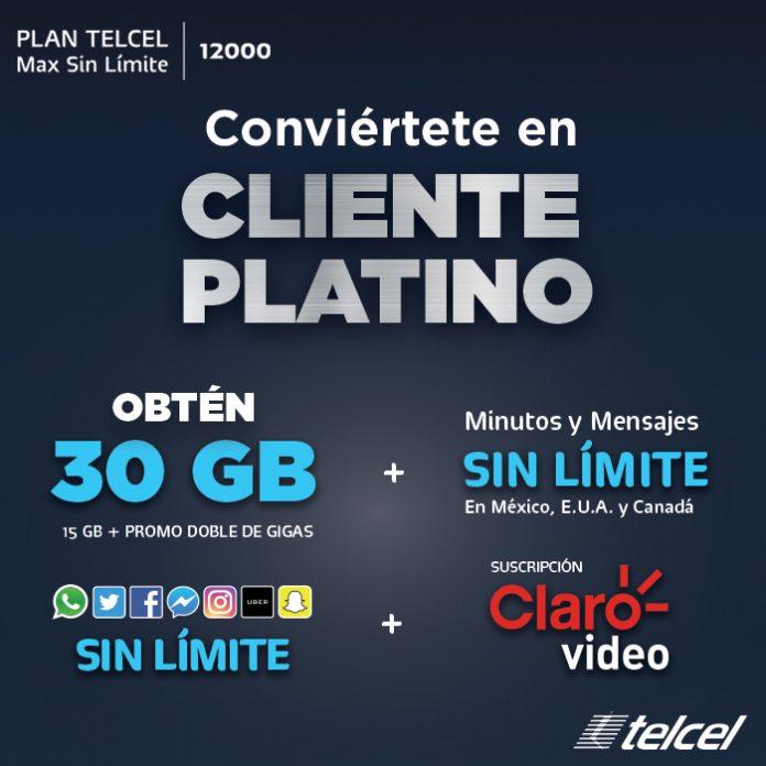 Conviértete en Cliente Platino Plan Telcel Max Sin límite 12000