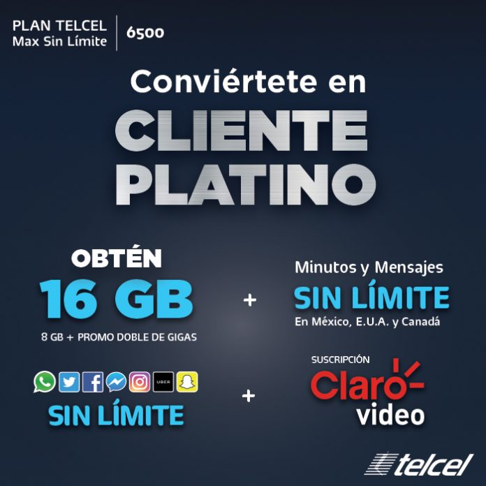 Conviértete en Cliente Platino Plan Telcel Max Sin límite 6500