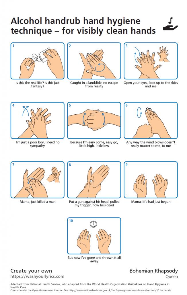 Cómo lavarse correctamente las manos, canción favorita