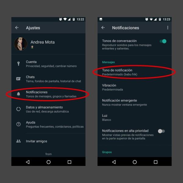 Whatsapp cómo cambiar tono de mensaje
