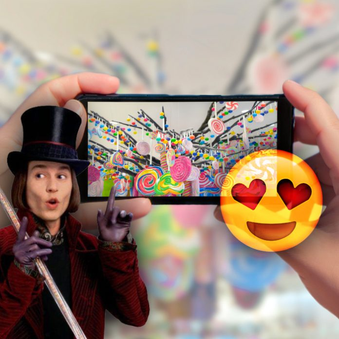 Willy Wonka pantalla sabores