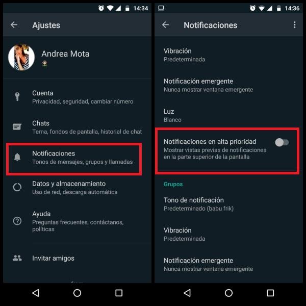 WhatsApp privacidad notificaciones