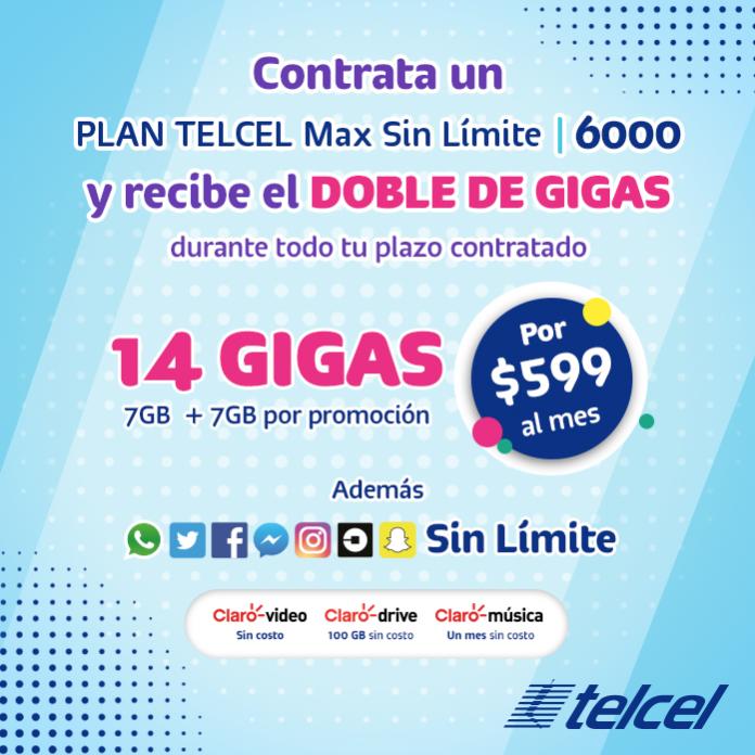 ¡Obtén grandes beneficios contratando un Plan Telcel Max Sin Límite 6000!