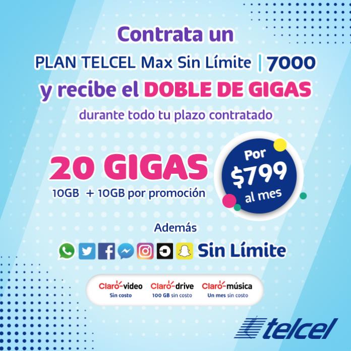 ¡Obtén ahora todos los beneficios del Plan Telcel Max Sin Límite 7000!