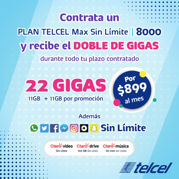 Sorpréndete con los beneficios de tu Plan Telcel Max Sin Límite 8000