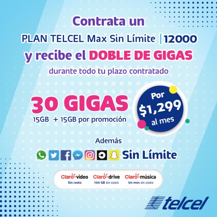 Contrata tu Plan Telcel Max Sin Límite 12000: ¡redes sociales, gigas multiplicados y más!