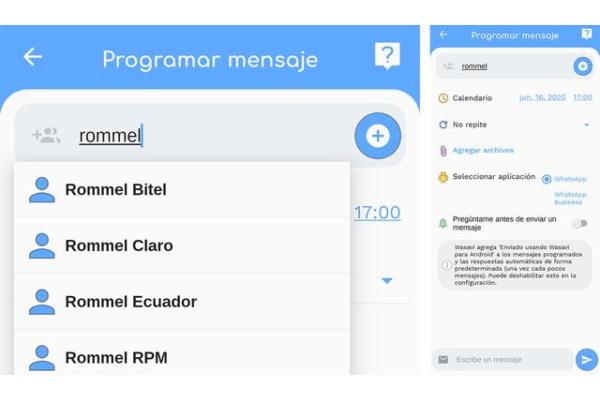 WhatsApp programar mensajes Wasavi