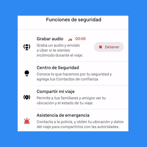 Cómo grabar un audio de tu viaje de Uber