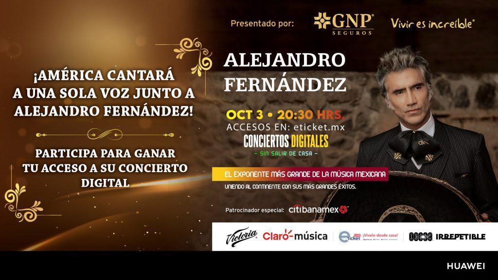 Gana acceso para concierto digital de Alejandro Fernandez