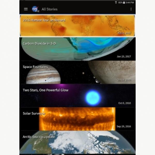 interfaz aplicación NASA Visualization Explorer