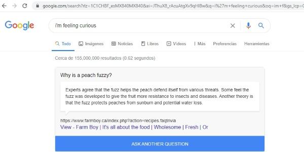 Secretos trucos Google im feeling curious