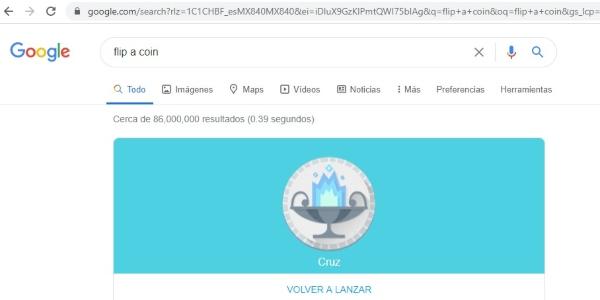 Secretos trucos Google flip a coin
