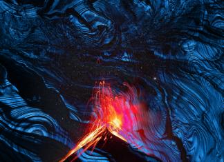 Volcán Kawah lava azul Indonesia
