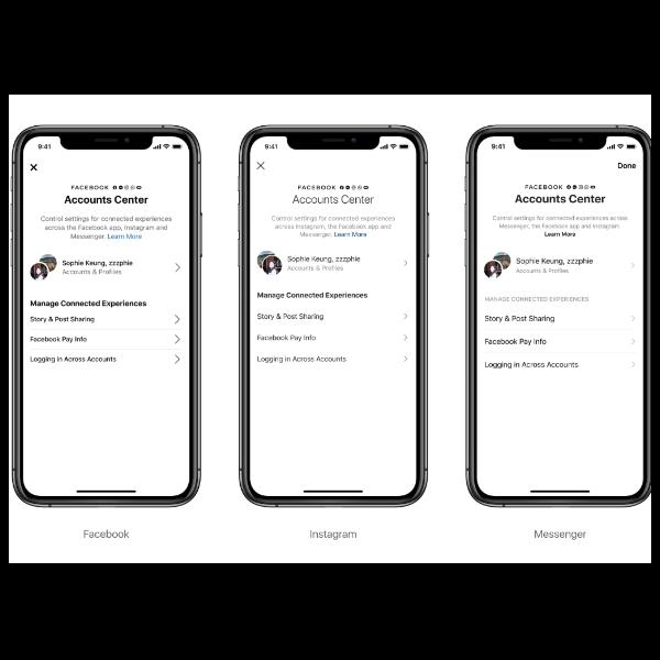 Centro de cuentas la unificacion de messenger, instagram y whatsApp