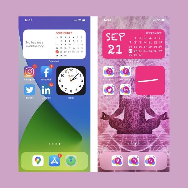 Pantalla inicio iphone widgets e iconos