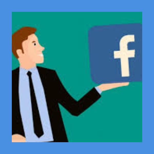 Ilustración de hombre sosteniendo logo de Facebook
