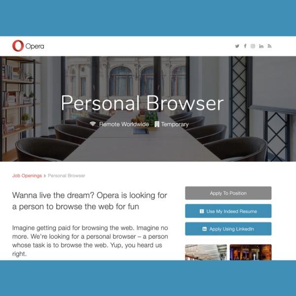 Opera busca una persona que navegue por la web por diversión oferta de trabajo