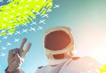 Selfie de astronauta en el espacio
