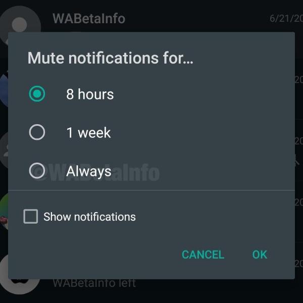 Silenciar grupos por siempre WhatsApp