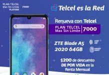 Plan Telcel Max Sin Límite 7000 ZTE Blade A5 2020