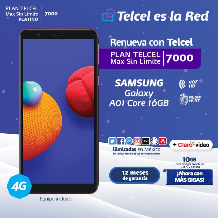 Plan Telcel Max Sin Límite 7000 Samsung Galaxy A01 Core 16 GB