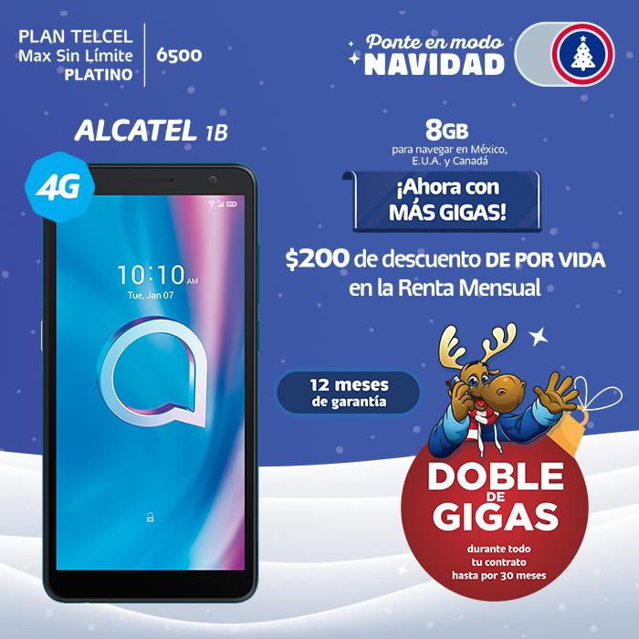 Plan Telcel Max Sin Límite 6500 Platino Alcatel 1B