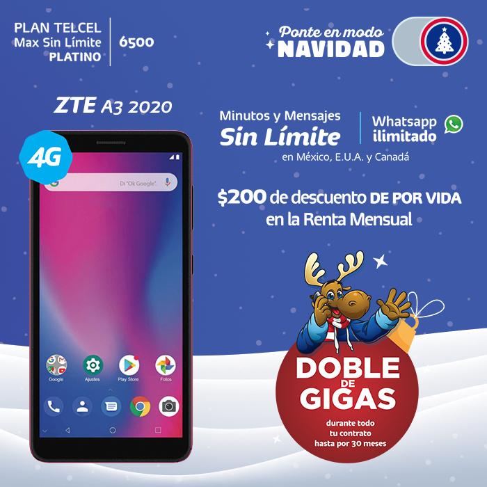 Plan Telcel Max Sin Límite 6500 Platino ZTE A3 2020