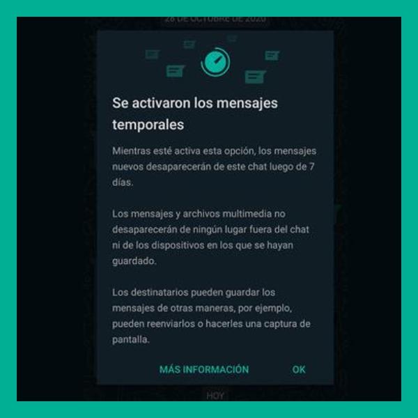 la función del reloj de los mensajes temporales de whatsapp