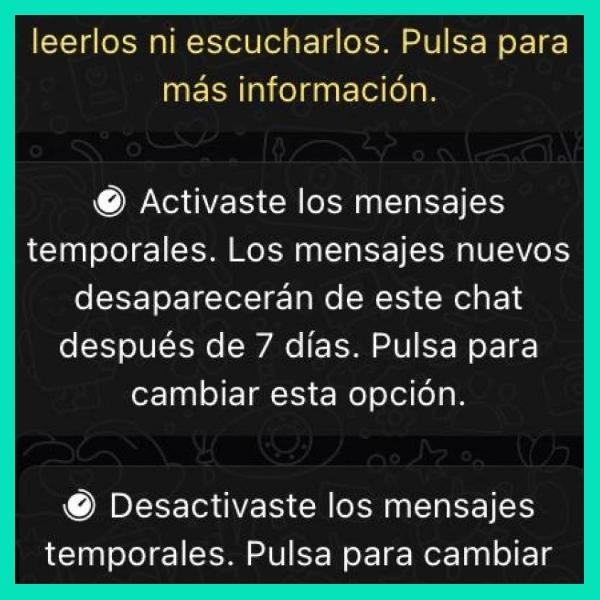 paso a paso como activar los mensajes temporales en whatsapp