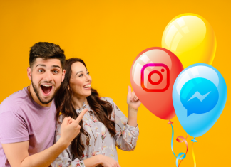 Pareja feliz con globos Instagram Facebook Messenger
