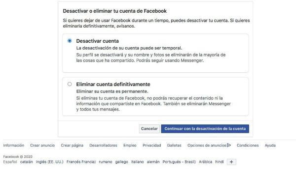 Cómo desactivar un perfil de Facebook